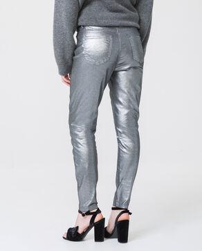 Skinny a vita alta grigio paillettato