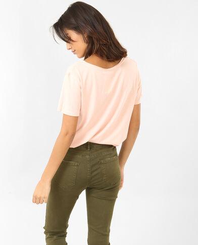 T-shirt collo raw cut rosa