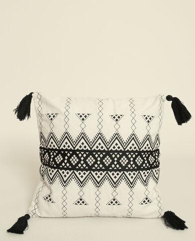 Federa per cuscino con motivi geometrici écru