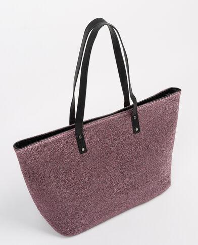 Borsa shopping lurex screziata rosa cipria