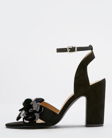 Sandali floreali nero