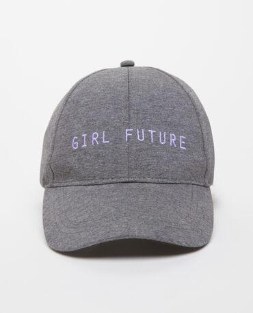 Cappellino con messaggio grigio chiaro chiné