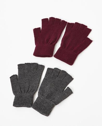 Lotto da 2 paia di mezzi guanti grigio