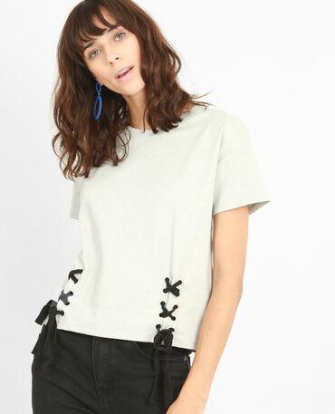 T-shirt con lacci grigio chiné