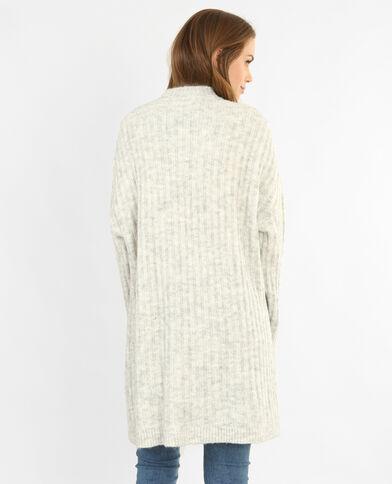 Cardigan in maglia a coste grigio chiné