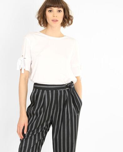 T-shirt con lacci bianco