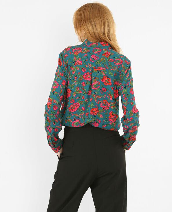 Camicia stampa a fiori verde