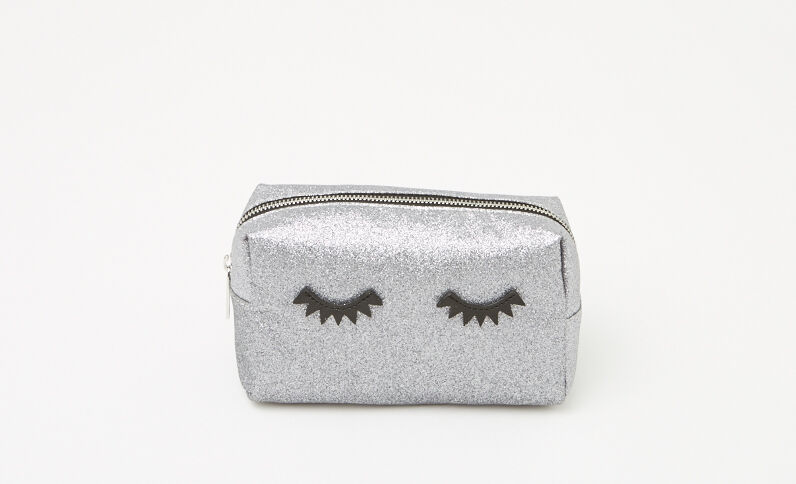 Trousse make up glitter eyes grigio paillettato