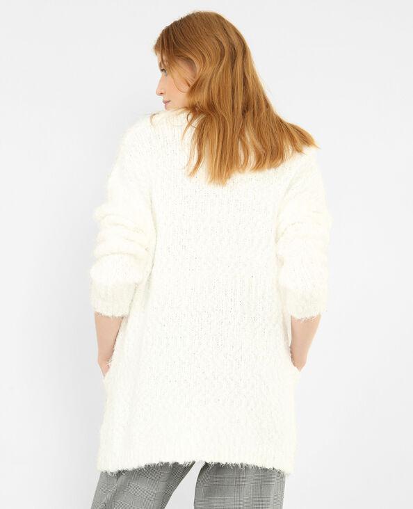 Cardigan fluffy bianco sporco