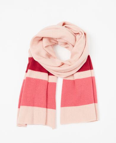 Sciarpa in maglia tricolore rosa cipria