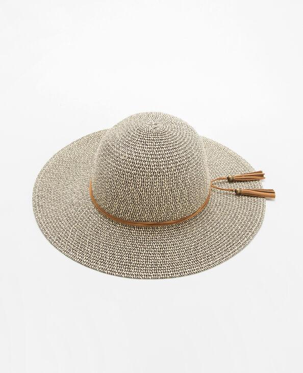 Cappello in paglia mista beige corda