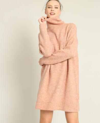 Abito pull collo dolcevita rosa cipria