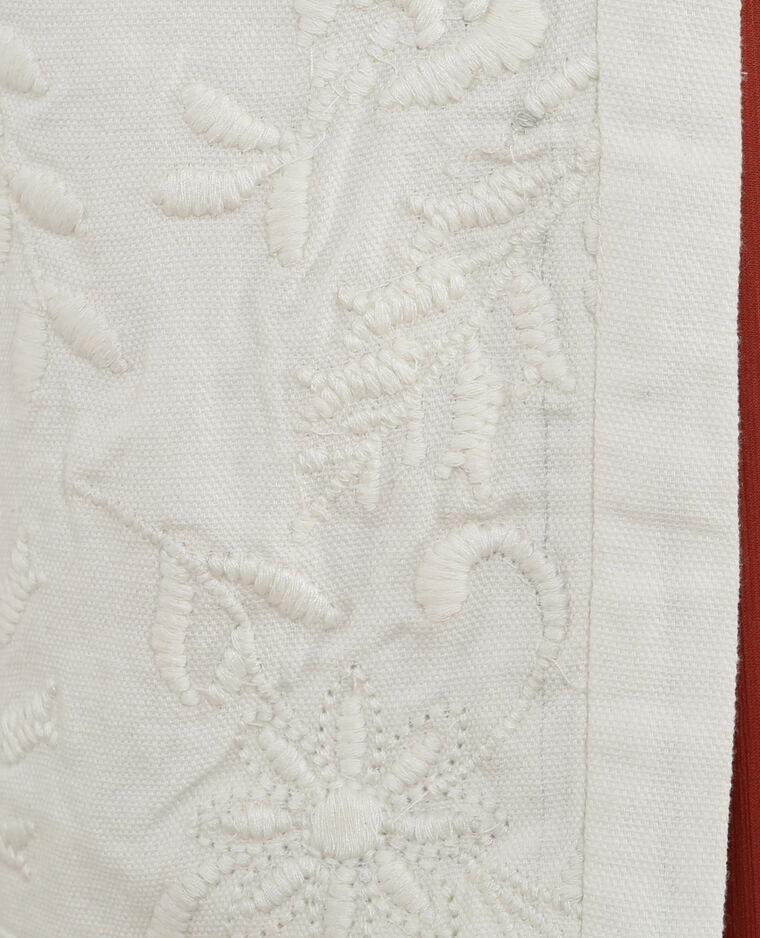 Giacca cropped ricamata bianco sporco