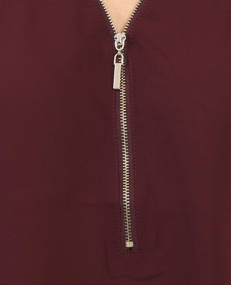 Blusa con zip granata