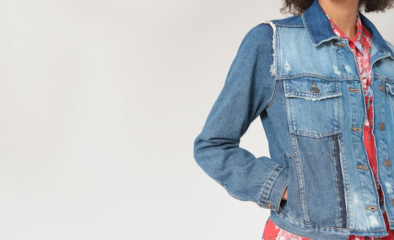 Giacca in jeans destroy blu denim