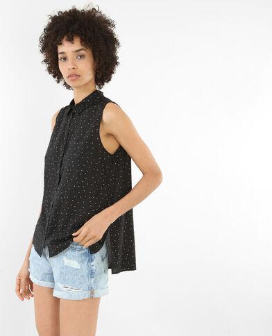 Camicia stampata senza maniche nero