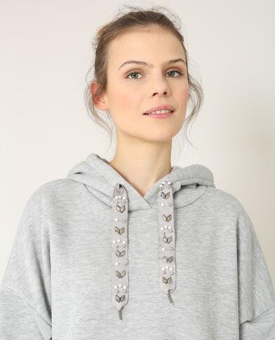 Felpa con cappuccio grigio chiné