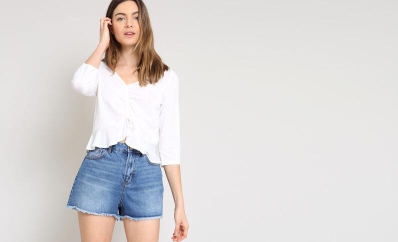 Blusa corta bianco