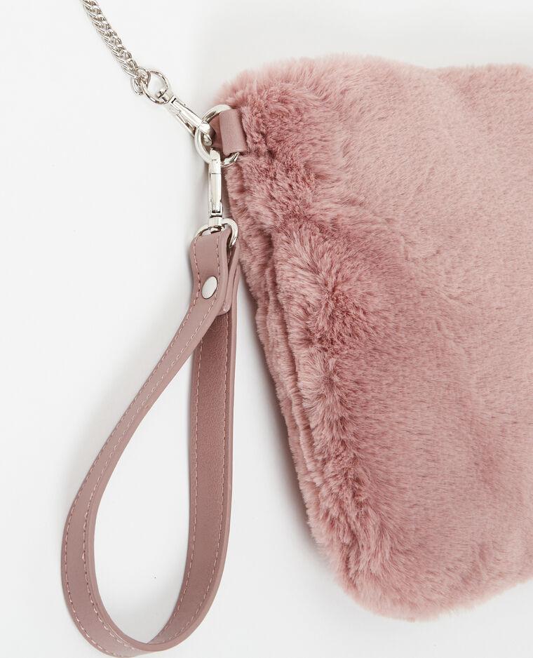 Borsa pochette grande in pelliccia ecologica rosa