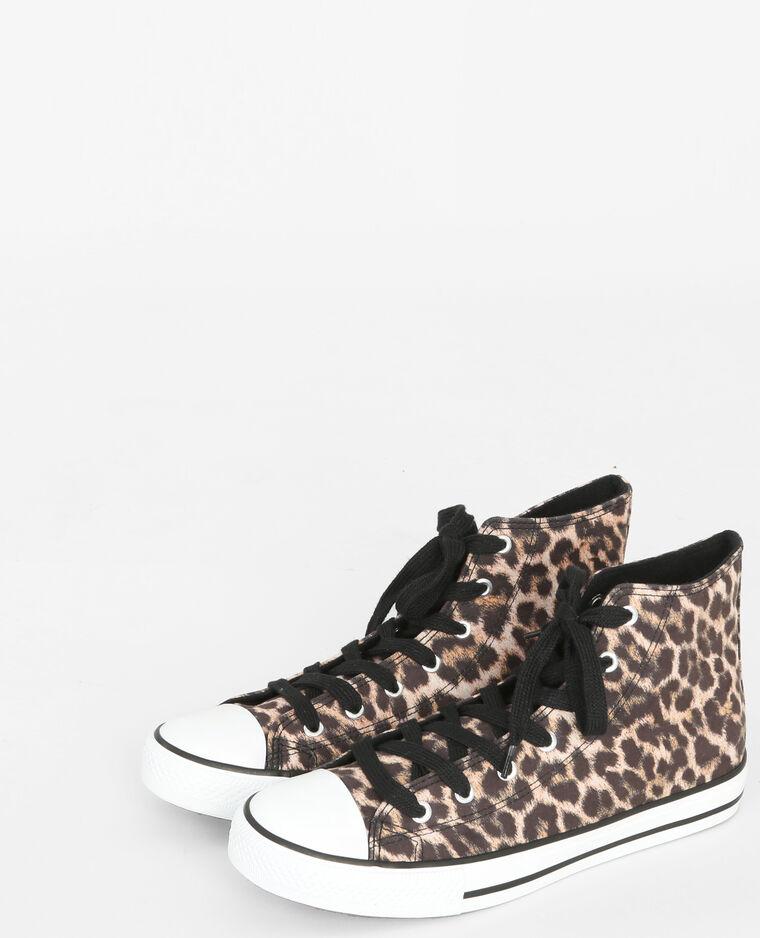 Scarpe da tennis in tela leopardata marrone