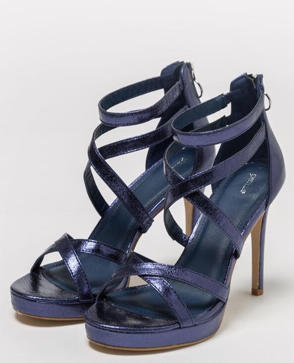 Sandali con cinturini iridati blu scuro