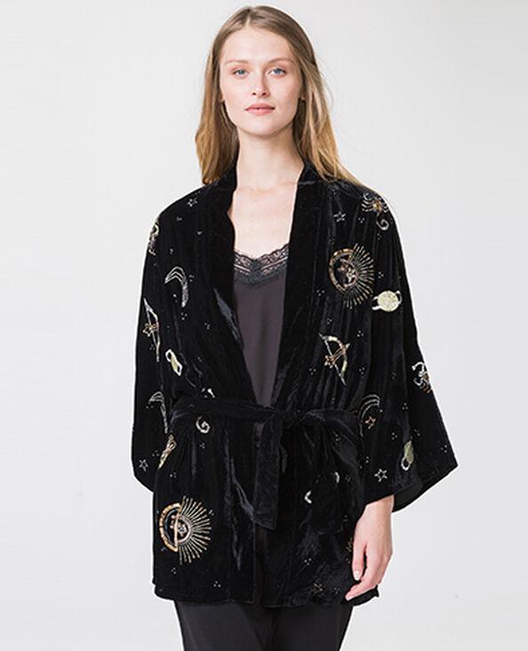Kimono in velluto stampato nero