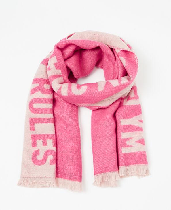 Sciarpa plaid con messaggio rosa fucsia