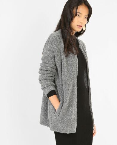 Cardigan lungo con zip grigio