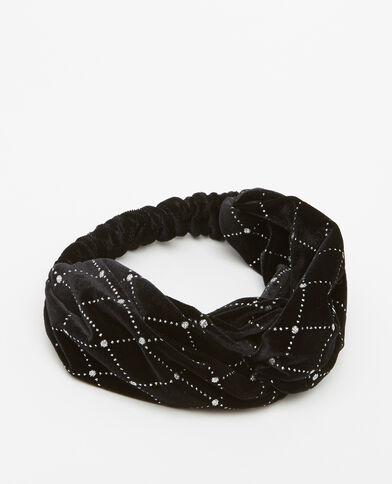 Headband in velluto con paillettes nero