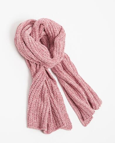 Sciarpa in maglia ciniglia rosa
