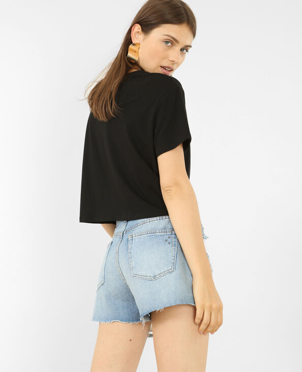 T-shirt cropped messaggio 3D nero