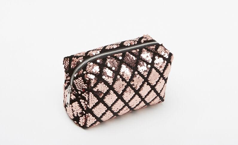 Trousse per il trucco con paillettes rosa