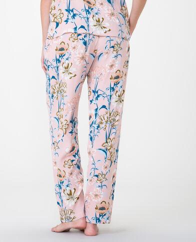 Pantalone morbido stampato rosa cipria