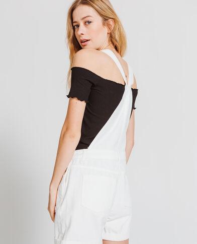 Salopette short bianco