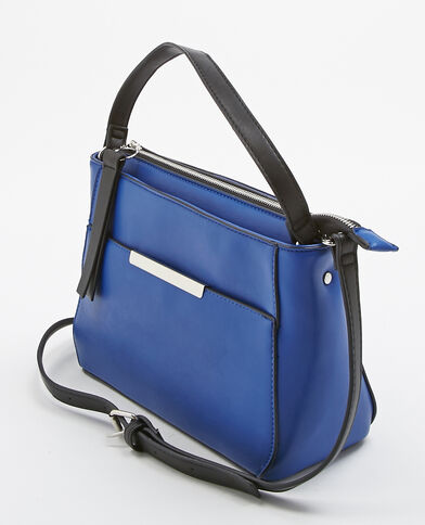 Borsa  shopping in finta pelle blu