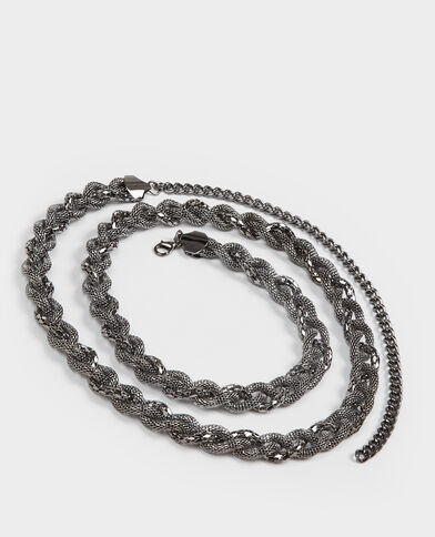 Cintura intrecciata grigio paillettato