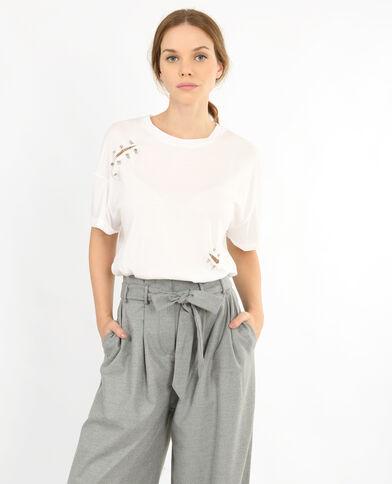 T-shirt con piercing bianco