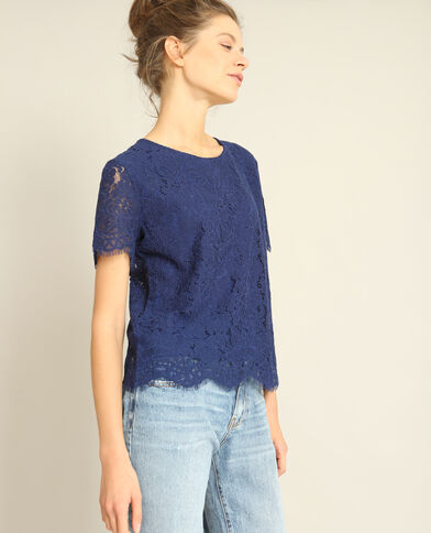 T-shirt in pizzo blu scuro