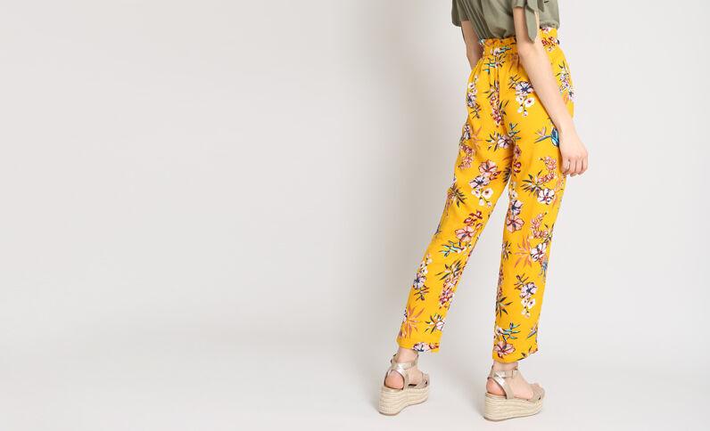 Pantalone morbido stampato giallo