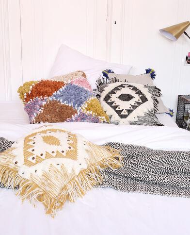 Federa per cuscino con frange bianco