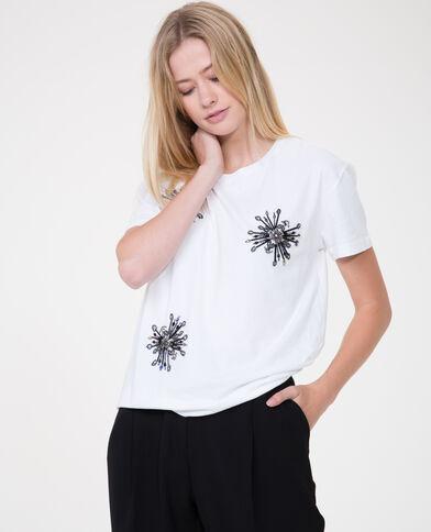 T-shirt collo perle bianco