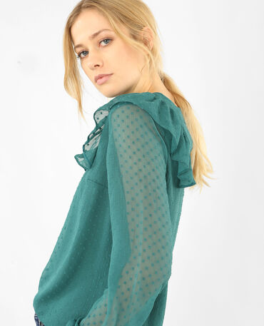 Blusa plumetis e volant verde