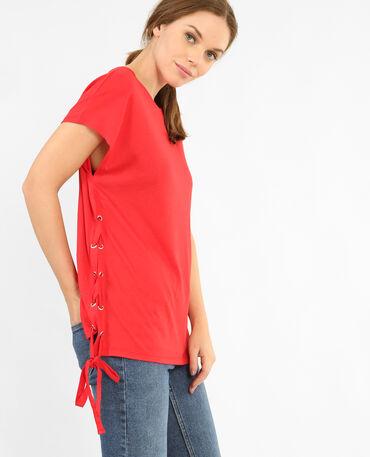 T-shirt con lacci Rosso