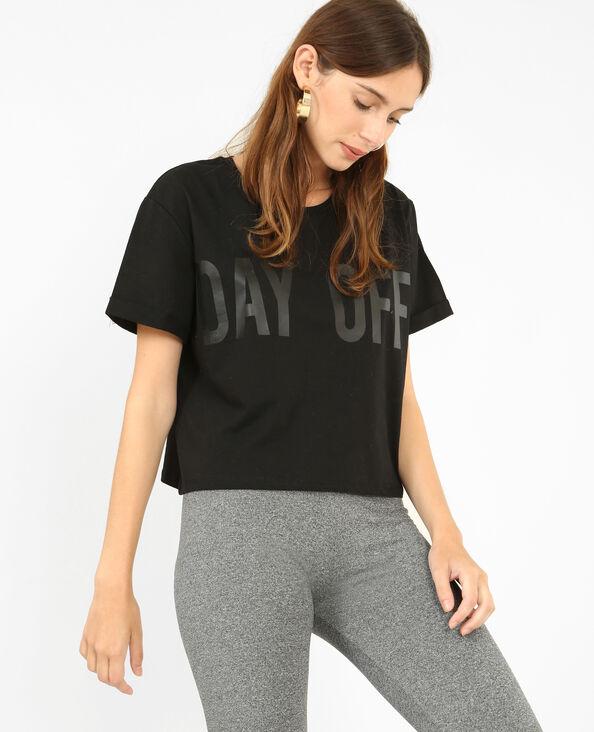 T-shirt corta con messaggio nero