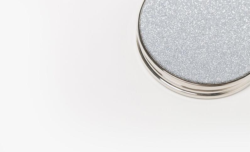 Specchio da tasca con paillettes rosa