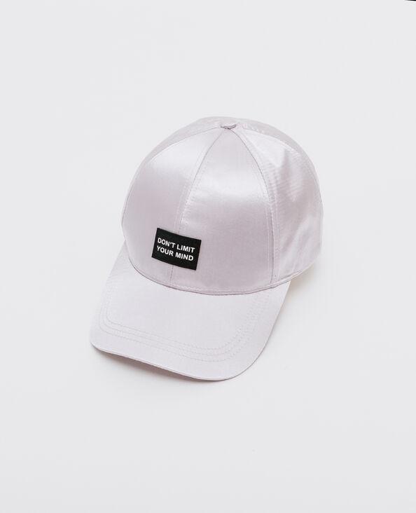 Cappellino satinato con messaggio bianco