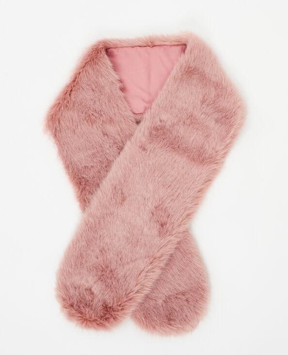 Collo in pelliccia ecologica rosa cipria