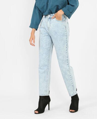 Jeans mom con messaggio blu chiaro