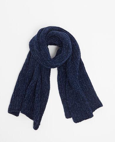 Sciarpa in maglia ciniglia blu