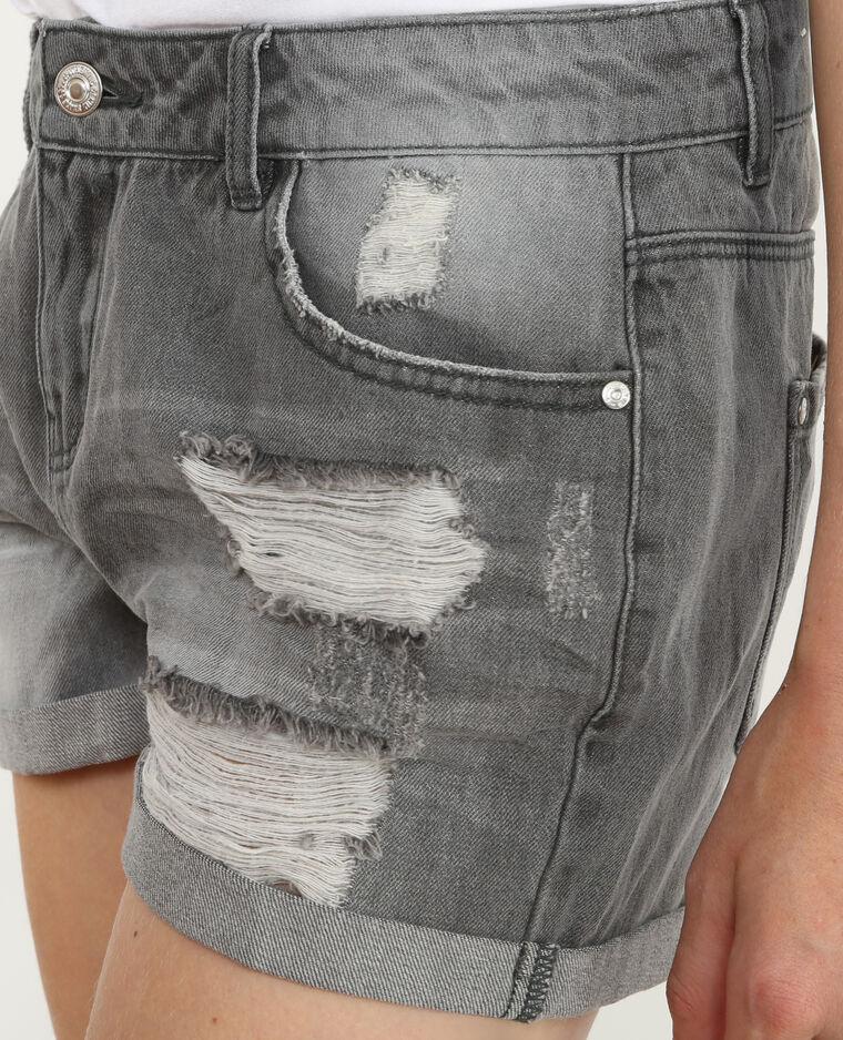 Short denim destroy grigio